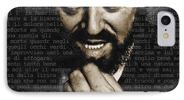 Luciano Pavarotti IPhone Case by Tony Rubino