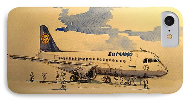 Lufthansa Plane IPhone 7 Case by Juan  Bosco