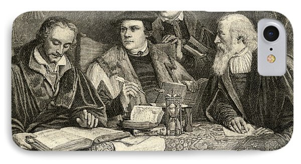 Luther Melancthon Pomeranus And Cruciger Translating  IPhone Case by English School