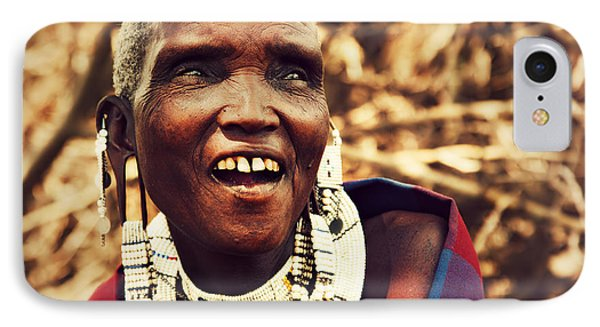 Maasai Old Woman Portrait In Tanzania Phone Case by Michal Bednarek