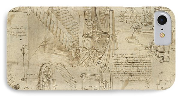 Machines To Lift Water Draw Water From Well And Bring It Into Houses From Atlantic Codex  Phone Case by Leonardo Da Vinci