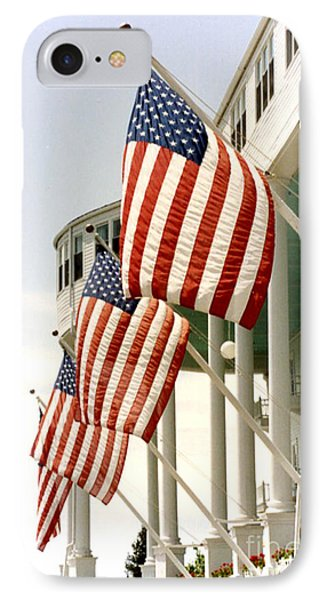 Mackinac Island Michigan - The Grand Hotel - American Flags IPhone Case by Kathy Fornal