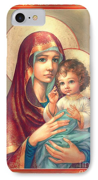 Madonna And Sitting Baby Jesus IPhone Case by Zorina Baldescu