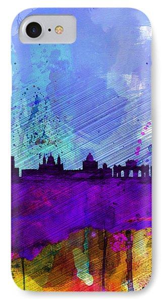 Madrid Watercolor Skyline IPhone Case by Naxart Studio