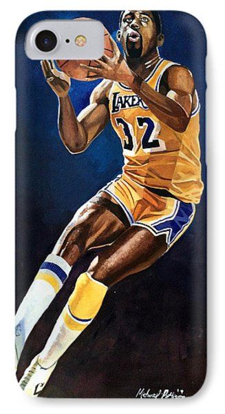 Magic Johnson - Lakers IPhone Case by Michael  Pattison