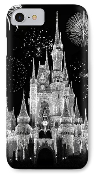 Magic Kingdom Castle In Black And White With Fireworks Walt Disney World IPhone Case by Thomas Woolworth
