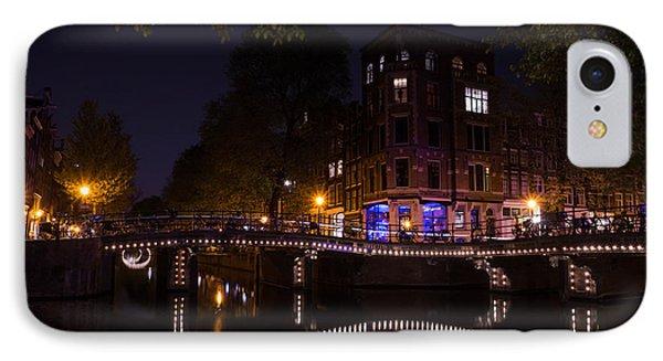 Magical Sparkling Amsterdam Canals And Bridges At Night IPhone Case by Georgia Mizuleva