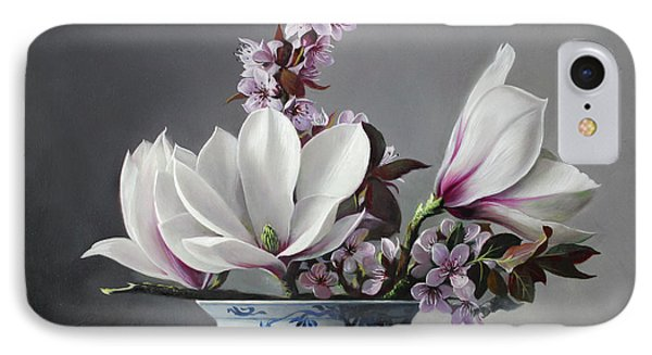 Magnolia And Apple Blossem IPhone Case by Pieter Wagemans