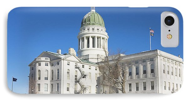 Maine State Capitol Building In Winter Augusta IPhone Case by Keith Webber Jr