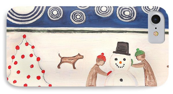 Making A Snowman At Christmas Phone Case by Patrick J Murphy