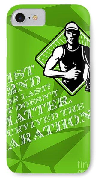 Male Marathon Runner Retro Poster Phone Case by Aloysius Patrimonio
