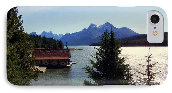 Maligne Lake Boathouse Phone Case by Karen Wiles