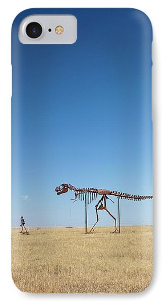 Man And T. Rex Skeletons IPhone Case by Jim West
