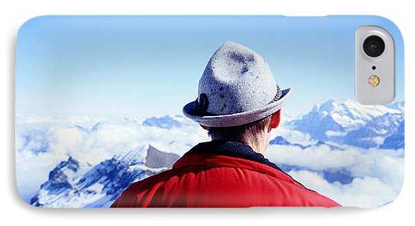 Man Contemplating Swiss Alps IPhone Case by Panoramic Images