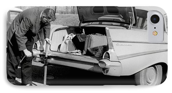 Man Jacking Up A Car IPhone Case by Underwood Archives