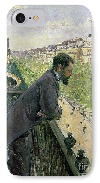 Man On A Balcony IPhone Case by Gustave Caillebotte