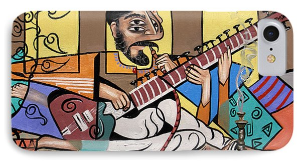 Man Playing A Sitar Phone Case by Anthony Falbo