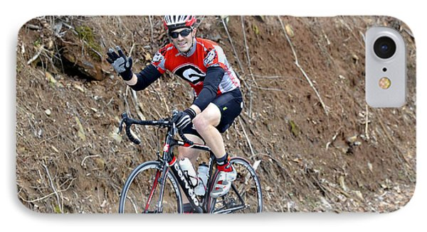 Man Riding Bike In A Race Phone Case by Susan Leggett