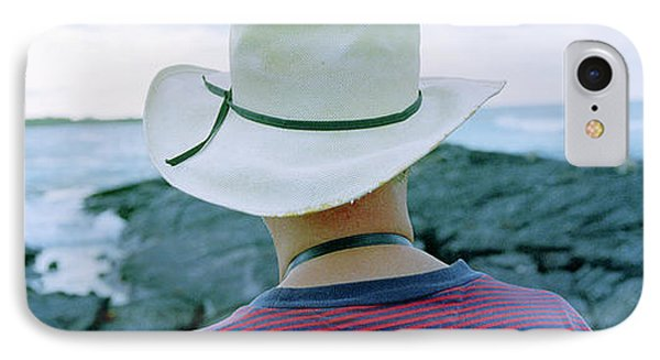 Man With Straw Hat Galapagos Islands IPhone Case by Panoramic Images