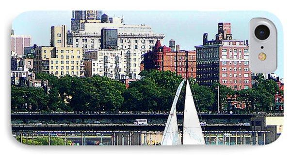 Manhattan - Sailboat Against Manhatten Skyline Phone Case by Susan Savad