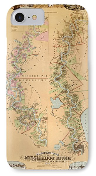 Map Depicting Plantations On The Mississippi River From Natchez To New Orleans Phone Case by American School