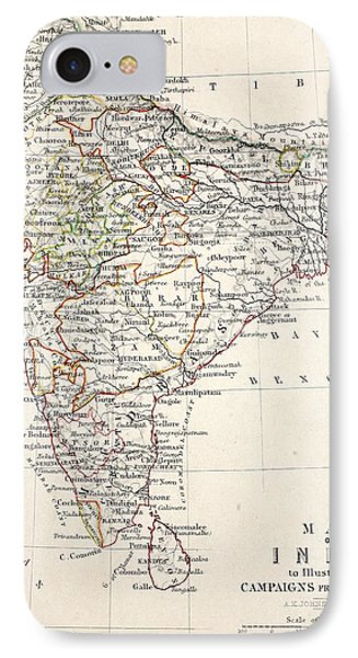 Map Of India IPhone Case by Alexander Keith Johnson
