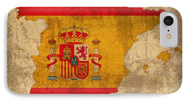 Map Of Spain With Flag Art On Distressed Worn Canvas Phone Case by Design Turnpike