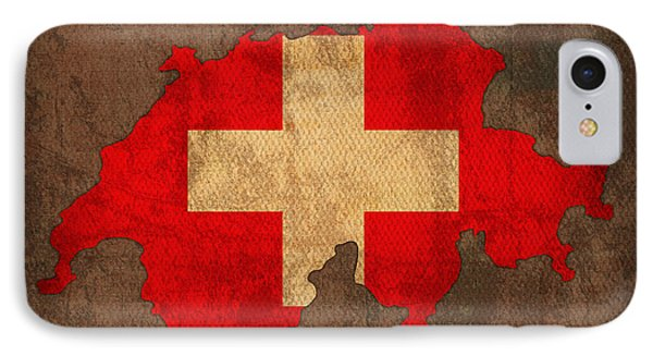 Map Of Switzerland With Flag Art On Distressed Worn Canvas IPhone Case by Design Turnpike