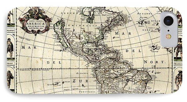 Map Of The Americas IPhone Case by Library Of Congress, Geography And Map Division