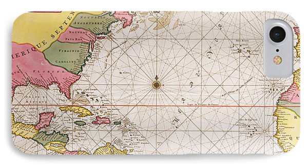 Map Of The Atlantic Ocean Showing The East Coast Of North America The Caribbean And Central America IPhone Case by French School