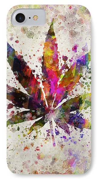 Marijuana Leaf In Color IPhone Case by Aged Pixel
