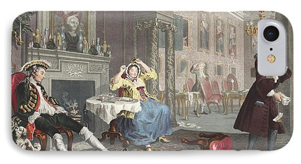 Marriage A La Mode, Plate II, The Tete IPhone Case by William Hogarth