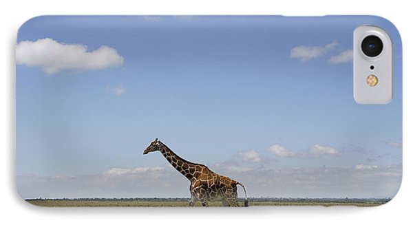 Masai Giraffe On Savanna Masai Mara IPhone Case by Hiroya Minakuchi
