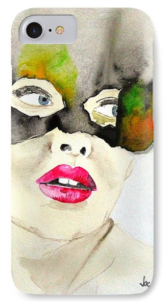 Mask In Watercolor Phone Case by Jacqueline Schreiber