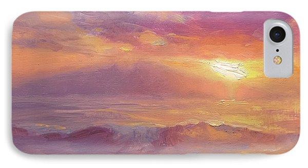 Maui To Molokai Hawaiian Sunset Beach And Ocean Impressionistic Landscape IPhone Case by Karen Whitworth