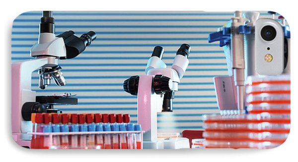 Medical Samples And Microscopes IPhone Case by Wladimir Bulgar