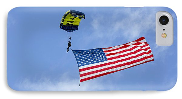 Member Of The U.s. Navy Parachute Team IPhone Case by Michael Wood