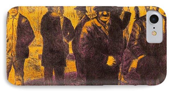 Men In Orange Light Phone Case by Kendall Kessler