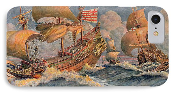 Merchant Ships Of 1640 IPhone Case by Robert Morton Nance
