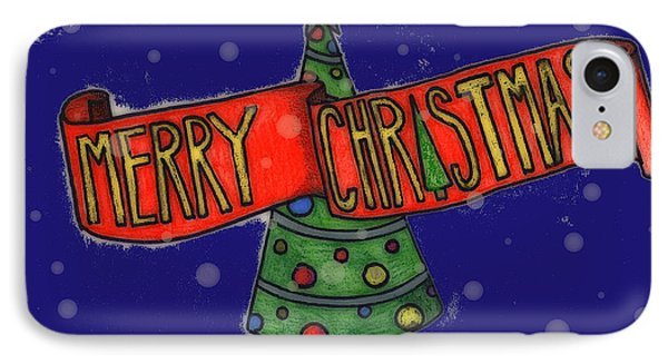 Merry Christmas Tree Phone Case by Jame Hayes