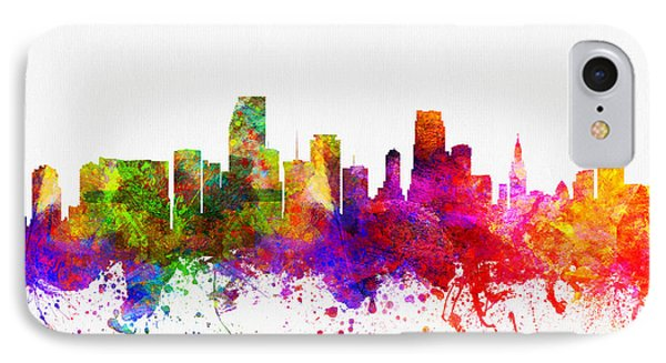 Miami Florida Skyline IPhone Case by Aged Pixel