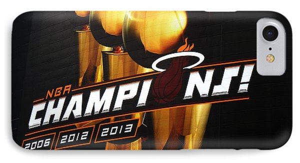 Miami Heat Aaa Championship Banner Phone Case by J Anthony