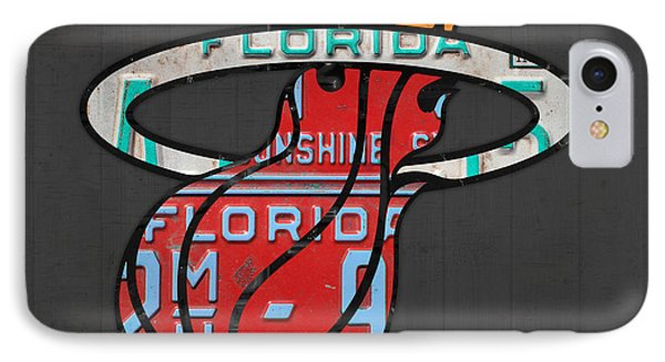 Miami Heat Basketball Team Retro Logo Vintage Recycled Florida License Plate Art IPhone 7 Case by Design Turnpike