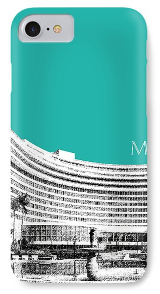 Miami Skyline Fontainebleau Hotel - Teal IPhone Case by DB Artist