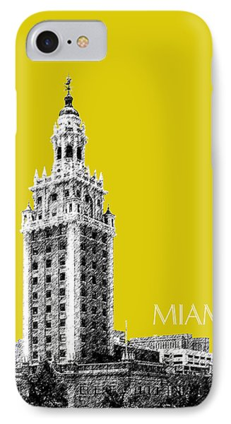 Miami Skyline Freedom Tower - Mustard IPhone Case by DB Artist