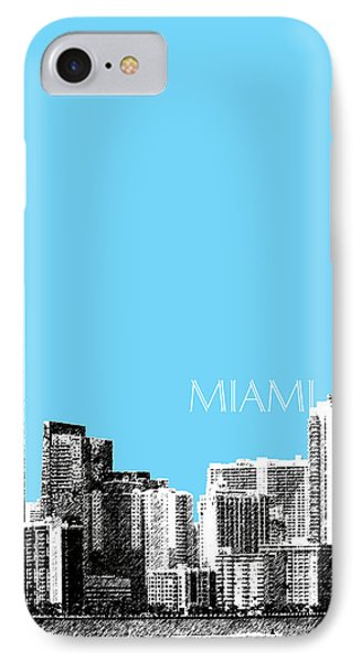 Miami Skyline - Sky Blue IPhone Case by DB Artist