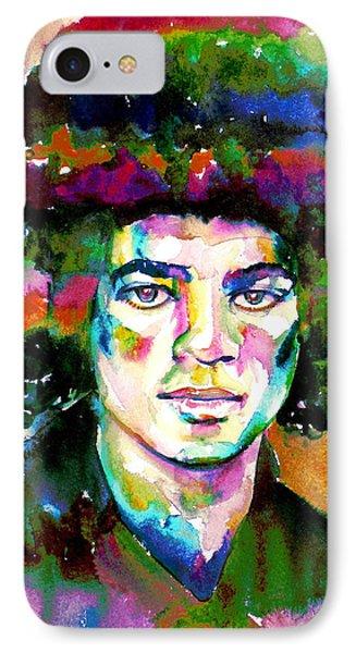 Michael Jackson - Watercolor Portrait.11 IPhone Case by Fabrizio Cassetta