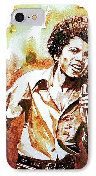 Michael Jackson - Watercolor Portrait.18 IPhone Case by Fabrizio Cassetta