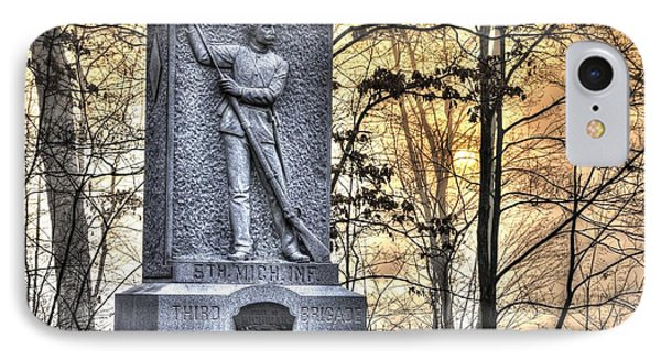 Michigan At Gettysburg - 5th Michigan Infantry Sunrise And Morning Mist In The Rose Woods Phone Case by Michael Mazaika