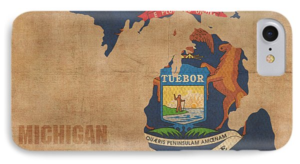 Michigan State Flag Map Outline With Founding Date On Worn Parchment Background IPhone Case by Design Turnpike